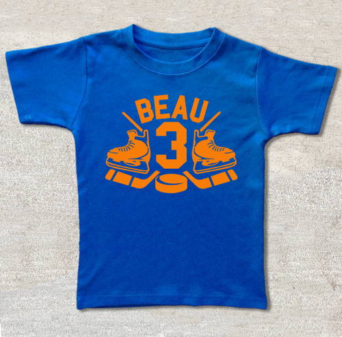 hockey birthday shirt royal blue