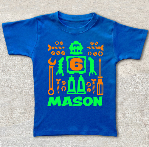 Robot birthday shirt royal blue shirt