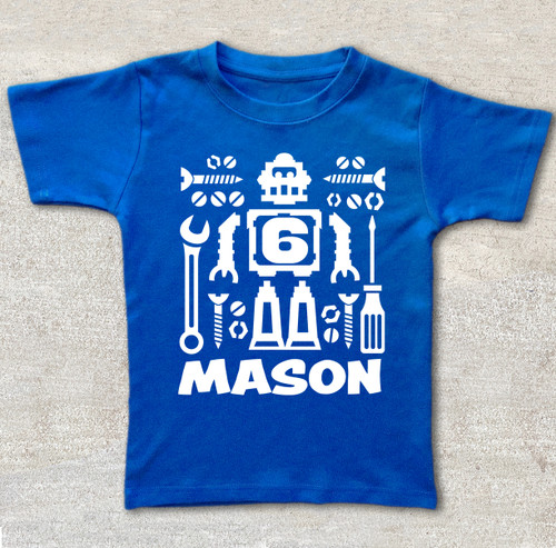 robot birthday shirt custom personalized