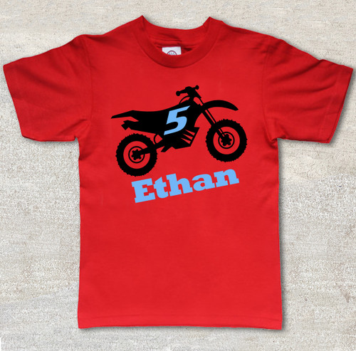 dirt bike birthday red short sleeve shirt 2 color