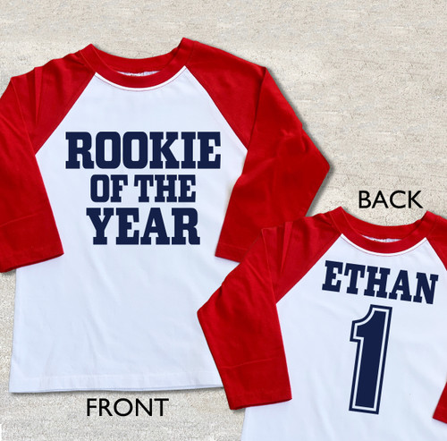 Rookie of the year first birthday shirt raglan