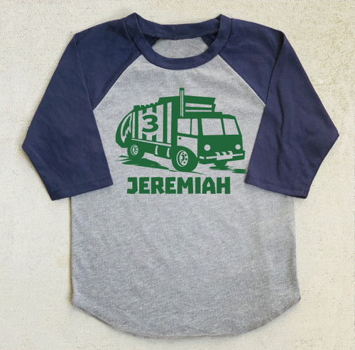 Garbage recycling truck birthday shirt raglan