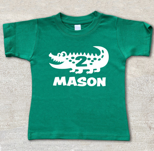 alligator birthday shirt custom personalized reptile birthday shirt green