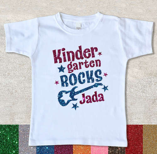 Glitter Kindergarten shirt First Day Back to School Shirt white tshirt