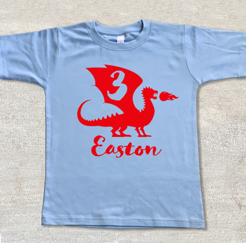 Personalized Dragon Birthday Shirt Fire Breathing Dragon light blue shirt