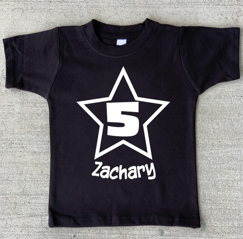 Star Personalized Number Birthday Shirt custom number shirt for boys or girls 1st birthday 2nd 3rd 4th 5th 6th 7th 8th 9th