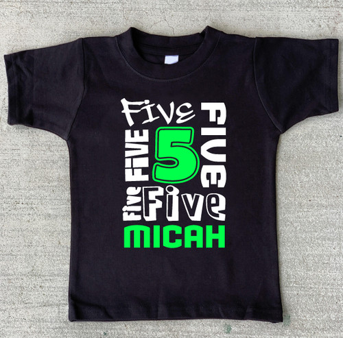 birthday number personalized lime on black shirt