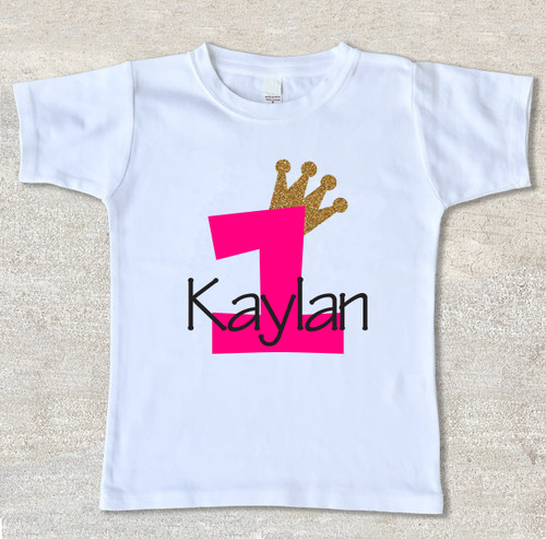 Tiara birthday shirt - Personalized girls glitter tiara princess crown birthday shirt white tee