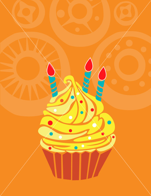 cupcake birthday greeting card vector illustration background