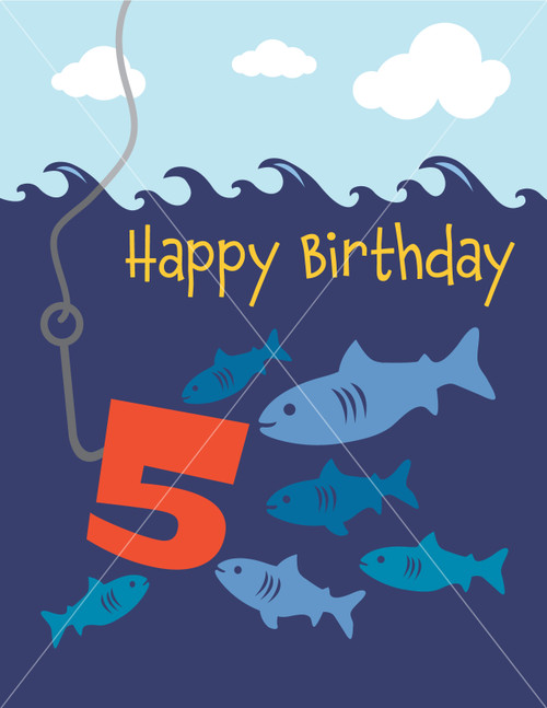 Fishing greeting card happy birthday vector illustration