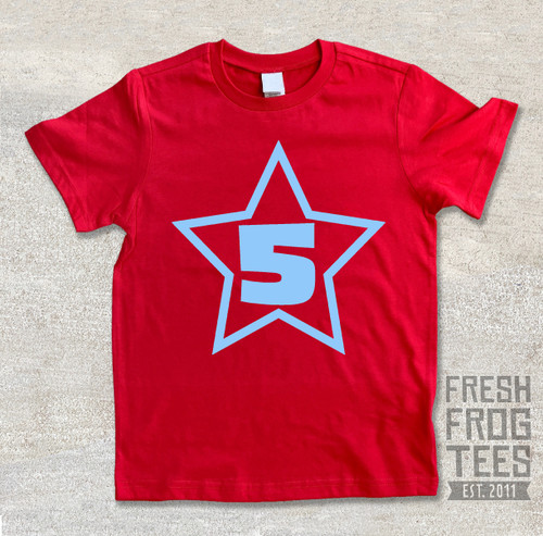 Star Number Birthday Shirt custom number shirt for boys or girls 1st birthday 2nd 3rd 4th 5th 6th 7th 8th 9th