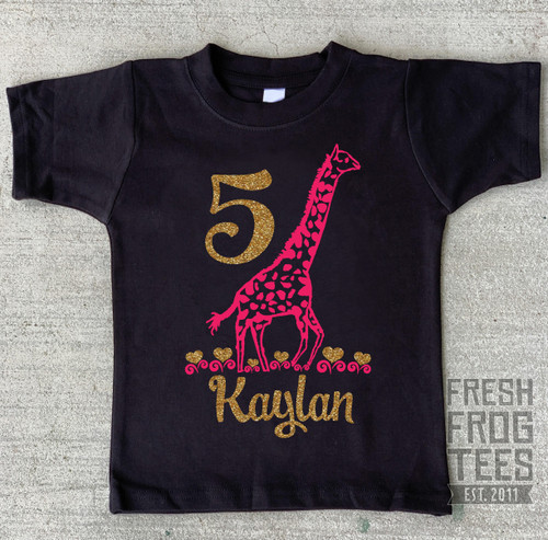 Giraffe birthday shirt with glitter hearts