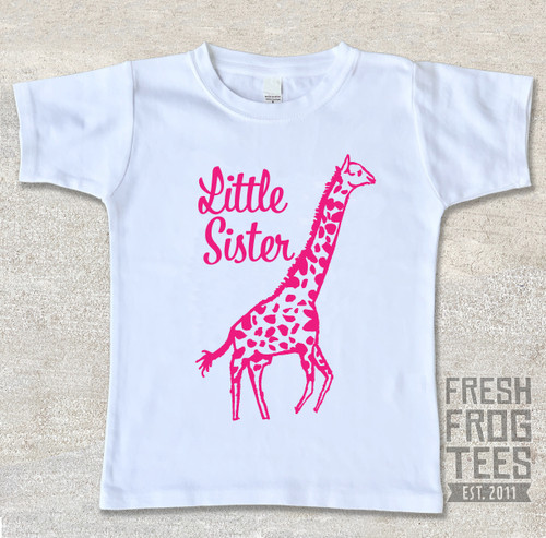 Giraffe little sister sibling shirt