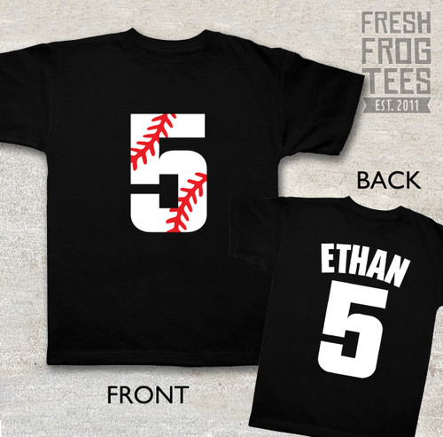 baseball number birthday shirt on black tshirt