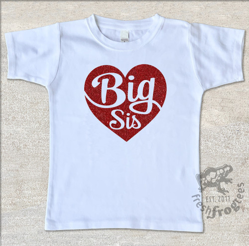 big sister heart valentine white shirt