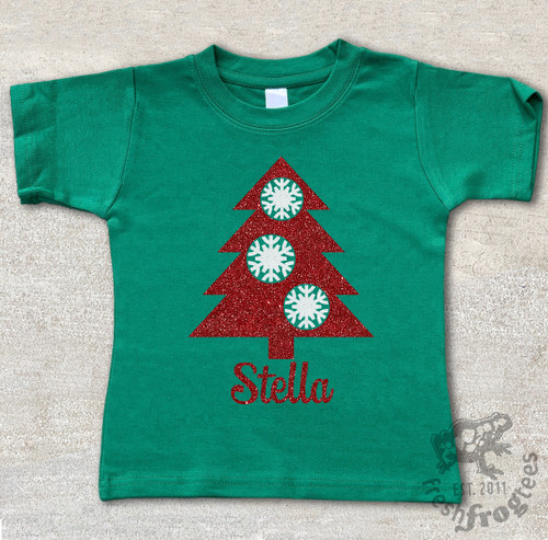 Personalized Christmas tree with snowflakes on green shirt