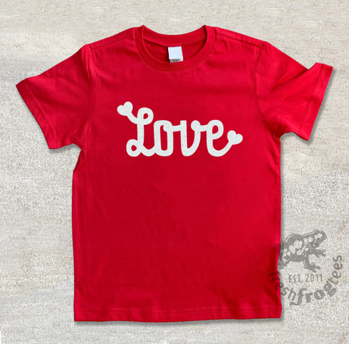 love valentine graphic tee on red tshirt