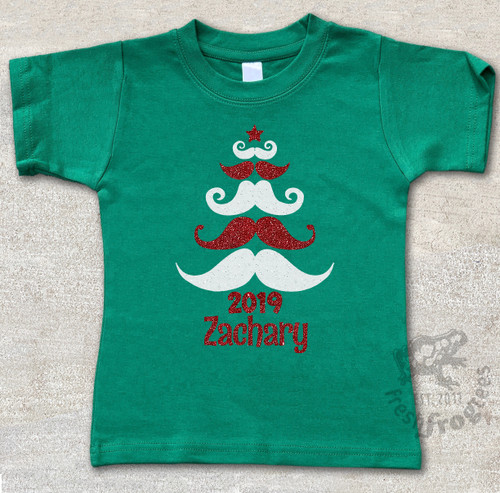 Mustache Christmas personalized holiday tshirt on green tee