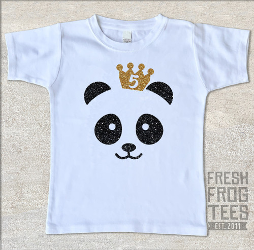 Glitter panda birthday shirt