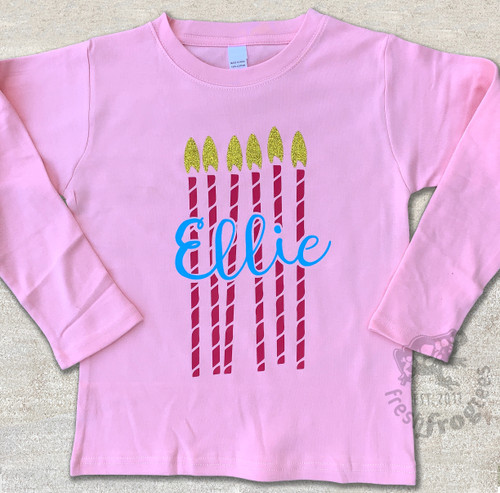 Personalized birthday candle shirt for girls