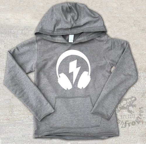 DJ Headphones with bolt Hoodie French Terry Long Sleeve shirt with pocket