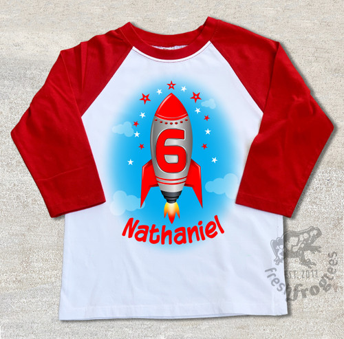 Custom Rocket birthday shirt personalized raglan