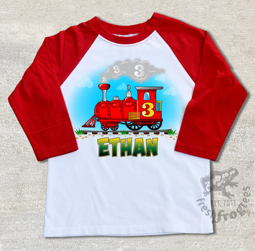 Train Birthday shirt for boys Personalized raglan