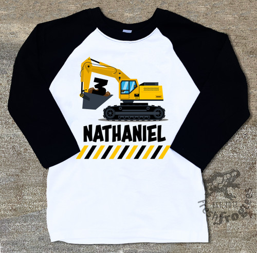 Digger excavator birthday shirt for boys raglan