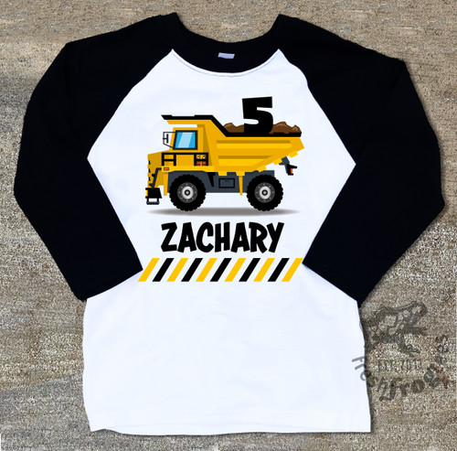 Dump truck birthday shirt for boys raglan