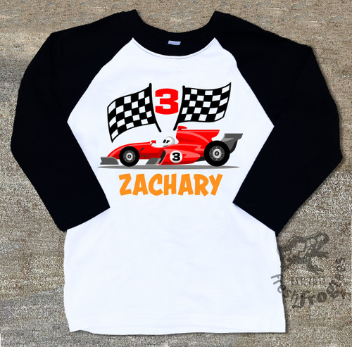 Race car birthday shirt for boys raglan