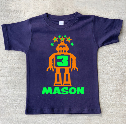 Robot birthday shirt personalized navy blue tshirt