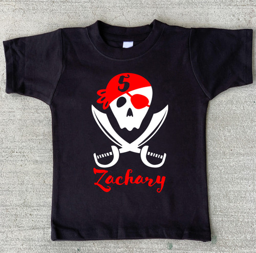 Personalized Pirate Birthday Shirt with swords on black shirt
