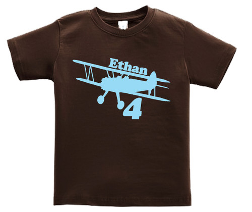 Airplane Biplane personalized tshirt lightblue on brown shirt