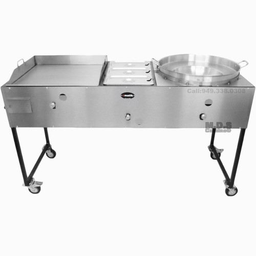 "Catering Cart 24"" Griddle 100% Pure Heavy Duty Gauge Steel Commercial Stainless Steel Taco Cart with Steamer and Concave Comal"
