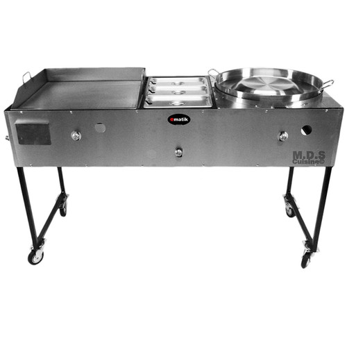 "Ematic Catering Cart 24"" Griddle 100% Pure Heavy Duty Gauge Steel Commercial Stainless Steel Taco Cart Grill with Steamer and Convex Comal."