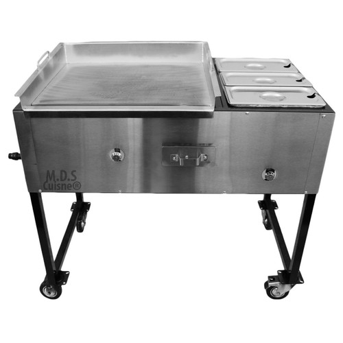 Taco Cart Stainless Steel Griddle Commercial Catering Portable Burner Tacos NEW