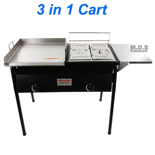 Taco Cart with Griddle 18x16 Stainless Steel, Double Deep Fryer, 2 Deep Trays & Stove All 3 in 1