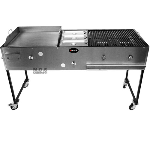 "Ematic Catering Cart 24"" Griddle 100% Pure Heavy Duty Gauge Steel Commercial Stainless Steel Taco Cart with 3 Steamers and 24"" Grill 3 in 1"