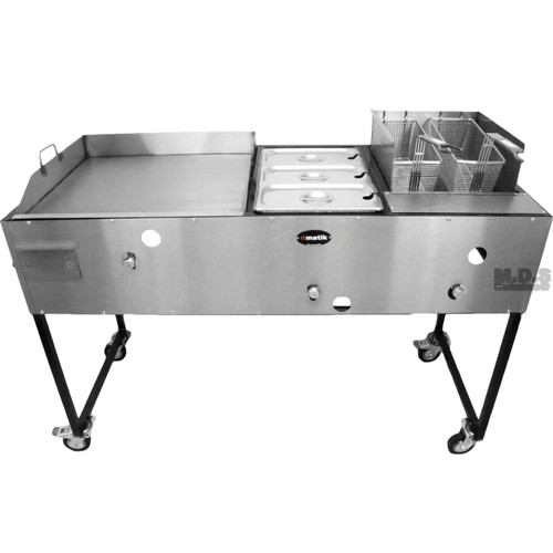 """Ematic Catering Cart 24"""" Griddle 100% Pure Heavy Duty Gauge Steel Commercial Stainless Steel Taco Cart with 3 Steamers and Double Basket Deep Fryer 3 in 1"""