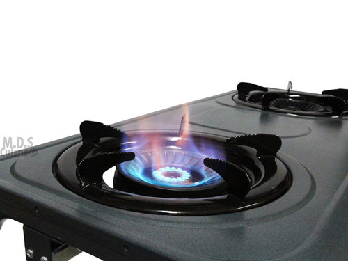 M.D.S Cuisine Cookwares Double Head Propane Gas Burner Portable Stand Camping Outdoor Stove Stainless