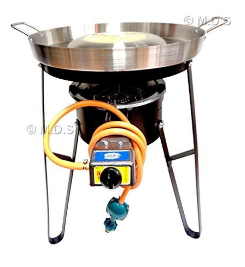 "Comal Convex 21"" with Burner Set Heavy Duty Metal Automatic Propane Gas Portable"