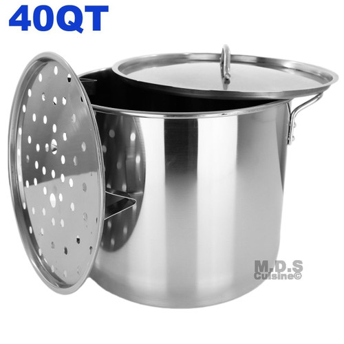 Stock Pot Stainless Steel 40QT Lid Steamer Pot Brew Vaporera Kettle Tamales New 10Ga