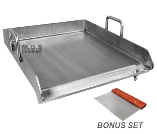 """Stainless Steel Flat Top Comal Plancha 18""""x16"""" inch BBQ Griddle for cooking with Outdoors Stove or Grill catering"""