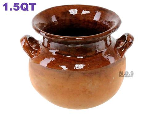 Olla Frijolera De Barro 1.5 Qt. Mini Traditional Handmade Mexican Authentic Artisan Barro Clay 100% Lead Free Stockpot with Brown Glaze Interior Finish