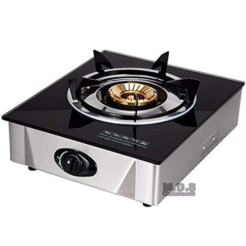 EMATIK Stove Glass-Top Portable Propane Gas Single Burner Countertop Outdoor/Indoor Stainless Steel Stove with Low Pressure Gas Regulator for Tailgate Camping Traveling …