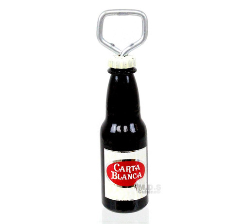 "Beer Bottle Beverage Opener 6.5"" Beer Design Carta Blanca Corona Extra Indio Cerveza Wooden Handmade Made in Mexico Bar Tool (Carta Blanca)"