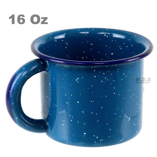 "Pocillo De Peltre Blue Azul Enamel Coated 4.5"" 16 Oz Capacity Traditional Mexican Coffee Hot Chocolate Camping Mug"