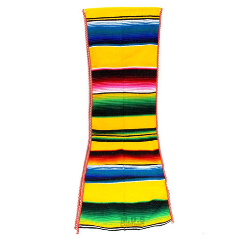 Ematik Serape Traditional Vibrant Colorful 100% Mexican Table Runner Zarape Throw Blanket Table Linen from Saltillo Coahuila Fiesta (Bumble-Bee Yellow)