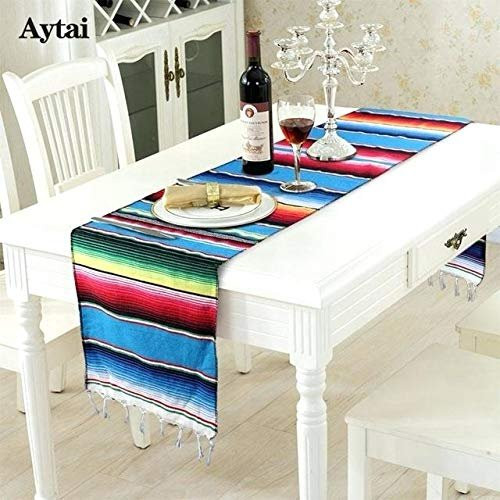 Phenomenal Ematik Serape Traditional Vibrant Colorful 100 Mexican Table Runner Zarape Throw Blanket Table Linen From Saltillo Coahuila Fiesta Bumble Bee Download Free Architecture Designs Intelgarnamadebymaigaardcom