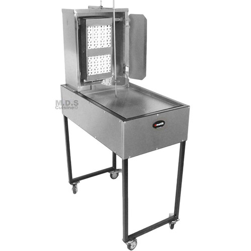 Ematik Trompo para Tacos Al Pastor Stainless Steel Cart with Traditional 8 Ceramic Bricks and Tray Heavy Duty Propane Gas Burner
